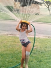 Me as a kid with a sprinkler on my head