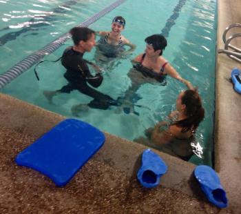 me, Ilene, and 2 volunteers during lim359 swim clinic