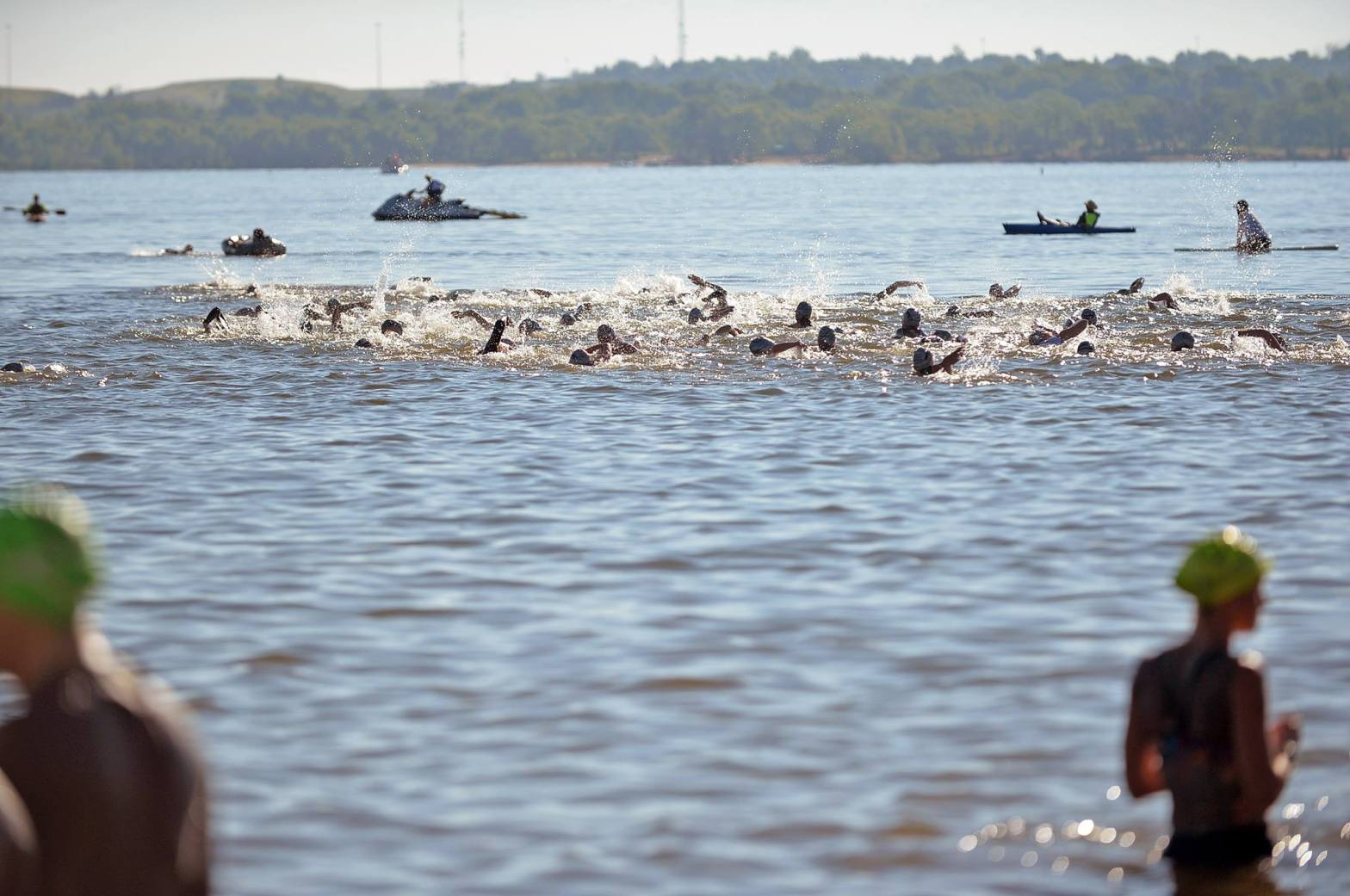 group of swimmers during a triathlon, including me