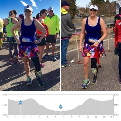 before (happy) and after (death) that dam half marathon, and a course map showing that it's pretty much all downhill for the first half and then back up