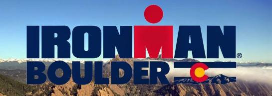 Text: Ironman Boulder across a photo of the Flatirons