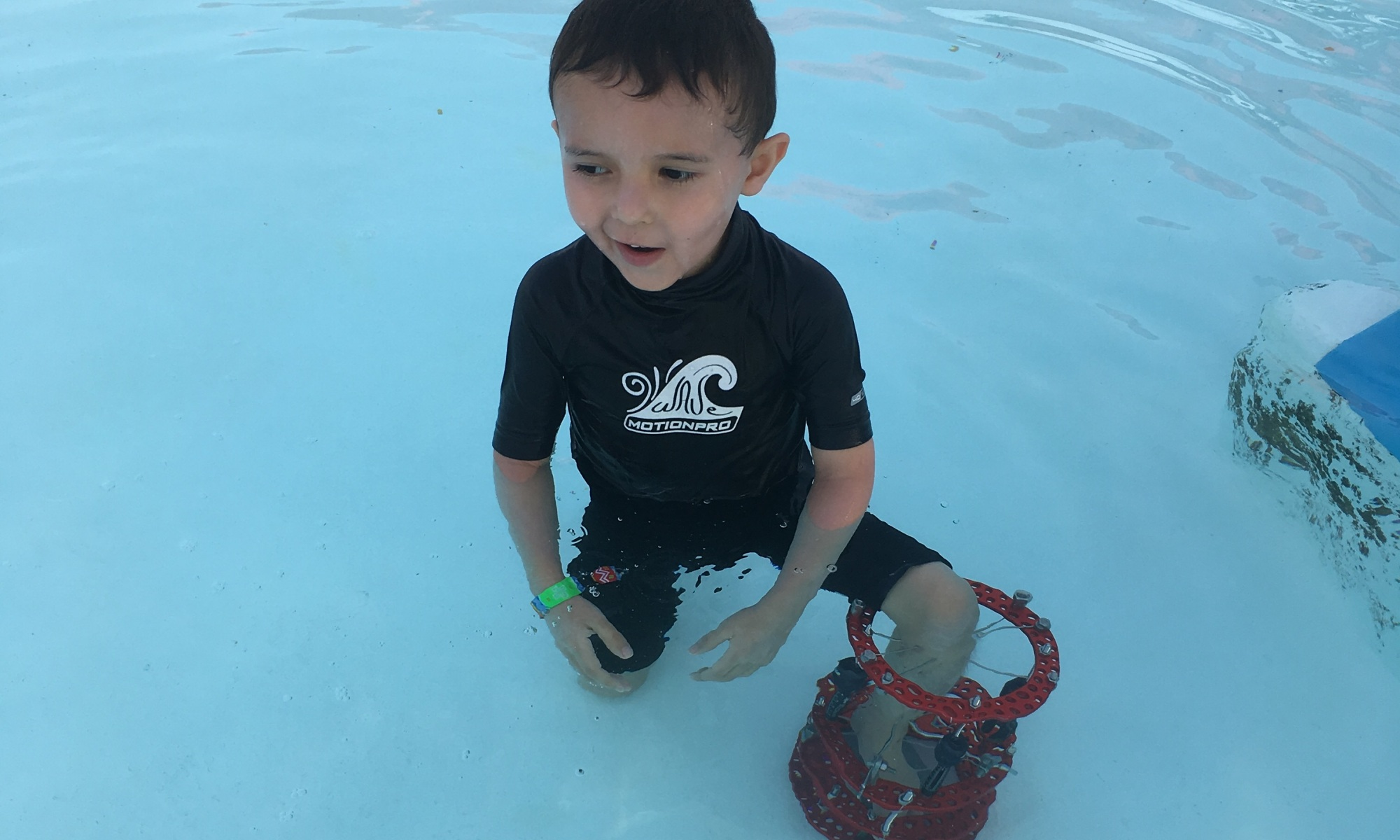 Shigue in the pool wearing his external fixator