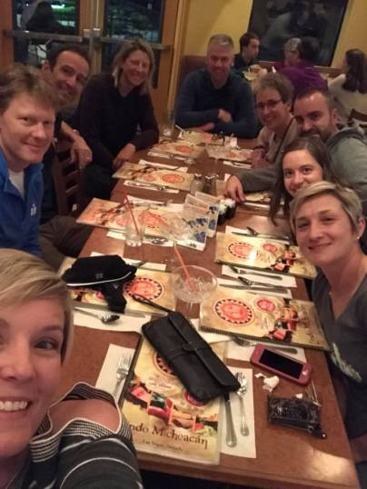 Amber, Ray, Coach Mark, Lynn, Gary, Coach Mandi, Zach, me, and Kat out to dinner on the final evening together
