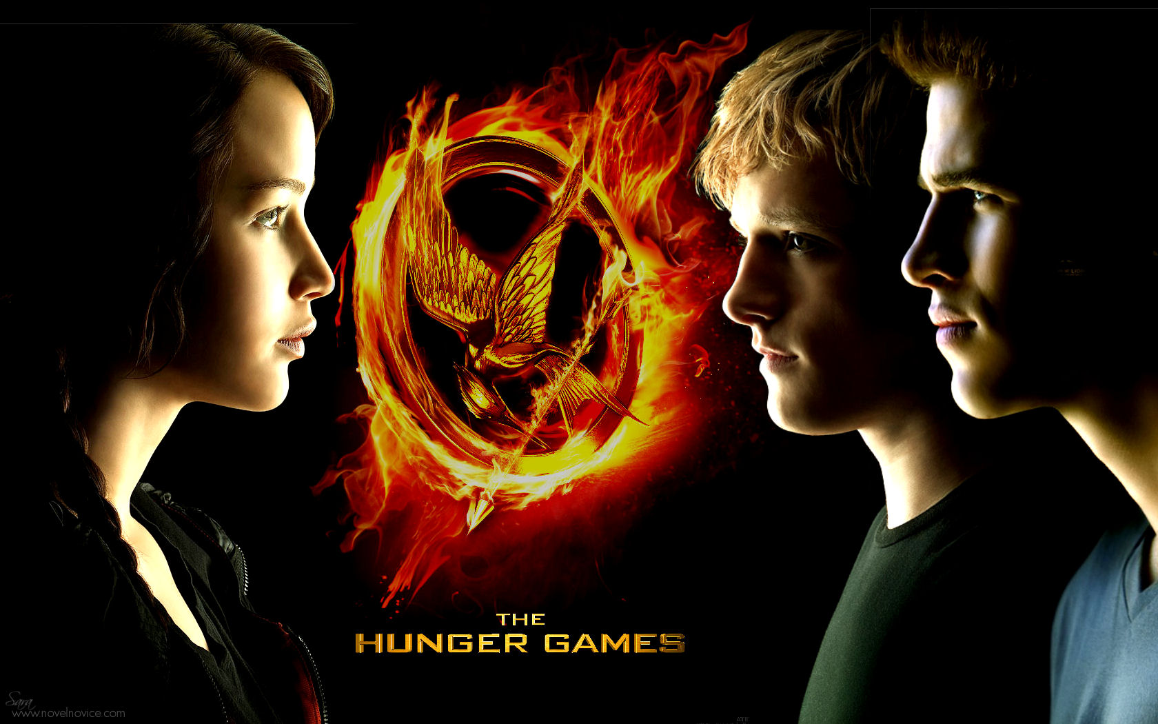Hunger Games Movie Cover with Mockingjay pin, profiles of Katniss, Peeta, and Gale