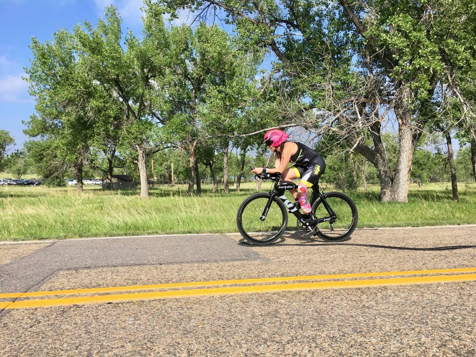 Riding my bike during a triathlon in 2017