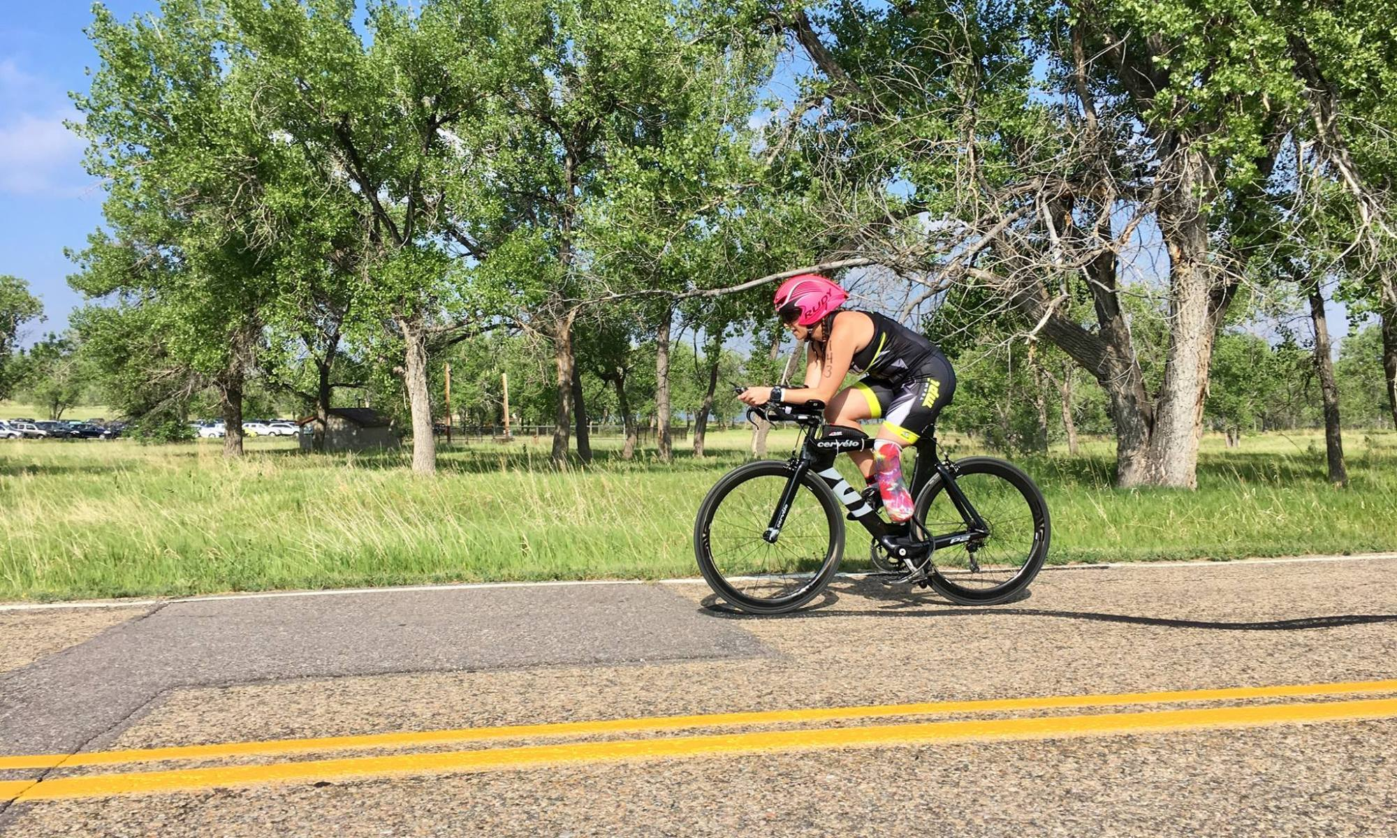 Riding my bike during a triathlon in 2017