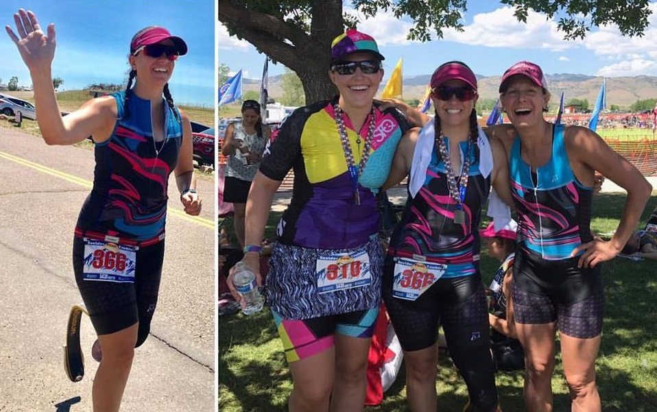 photo of me giving a high five during a triathlon and a photo of me with Theresa and Nicole at the finish of a triathlon