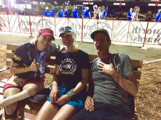 Me, Sasha, and Mark sitting on a bench near the finish... in disbelieve about the day's events