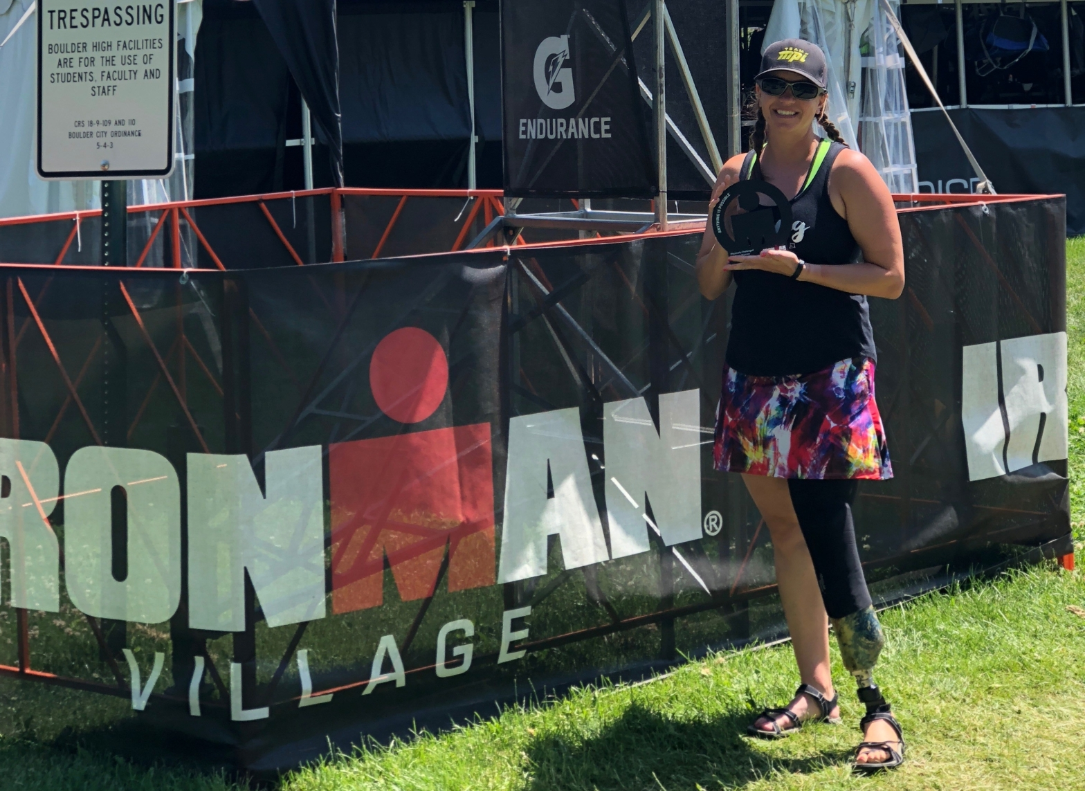 Me with my PC award at Athlete Village the day after IM Boulder 2018