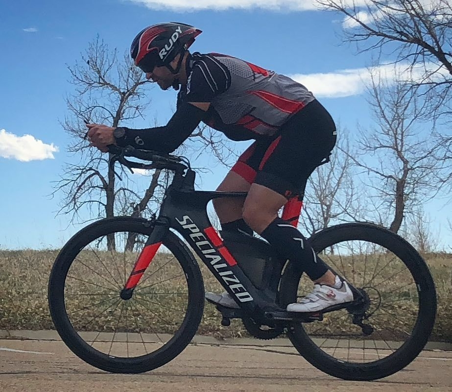 Zach during one of his time trial races to prepare for IM Boulder