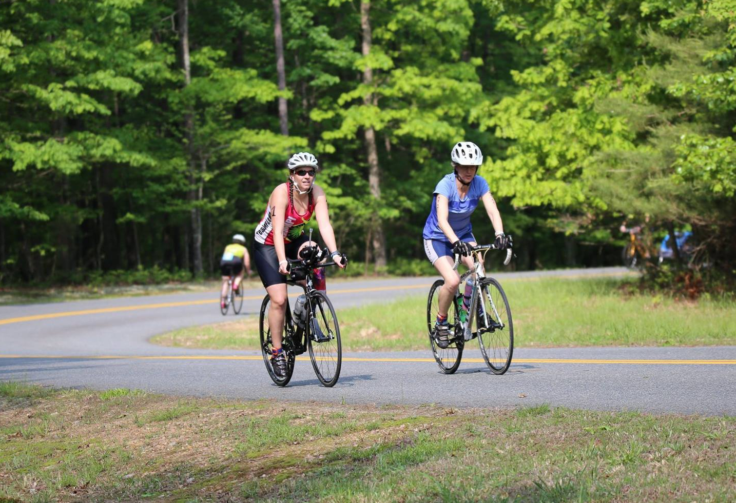 Me and Linda biking together at a triathlon in Virginia in 2016