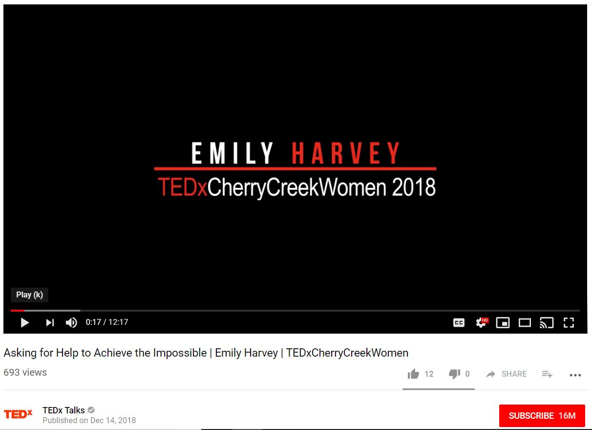 "screenshot of opening of TEDx video - screen is black and words in red/white say ""Emily Harvey 