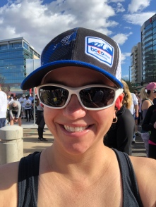 Me at the start of the Cherry Creek Sneak wearing white sunglasses and a blue/black/white BOCO Gear trucker hat