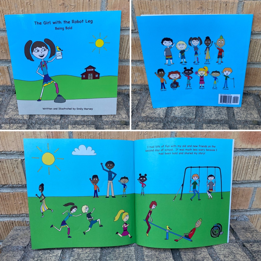Photo collage of front and back cover of Being Bold, as well as the last 2 pages.  There are children of different colors and with different disabilities featured.
